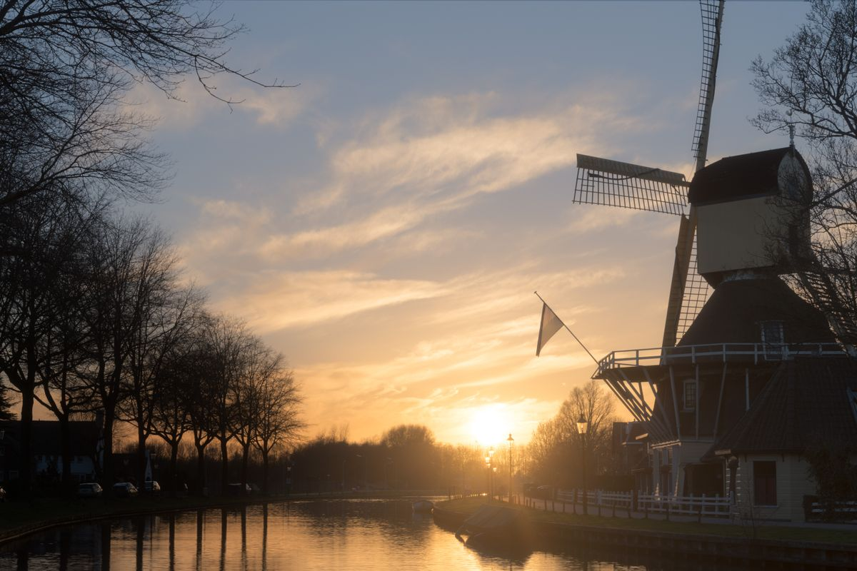 Sunset by the windmill