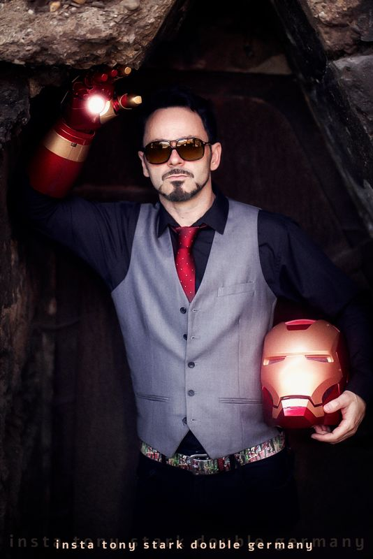 German tony stark cosplayer marvels iron man with partial armour helmet and glove