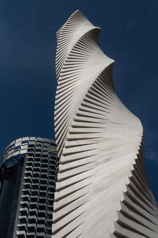 Going up in the world twisted sculpture