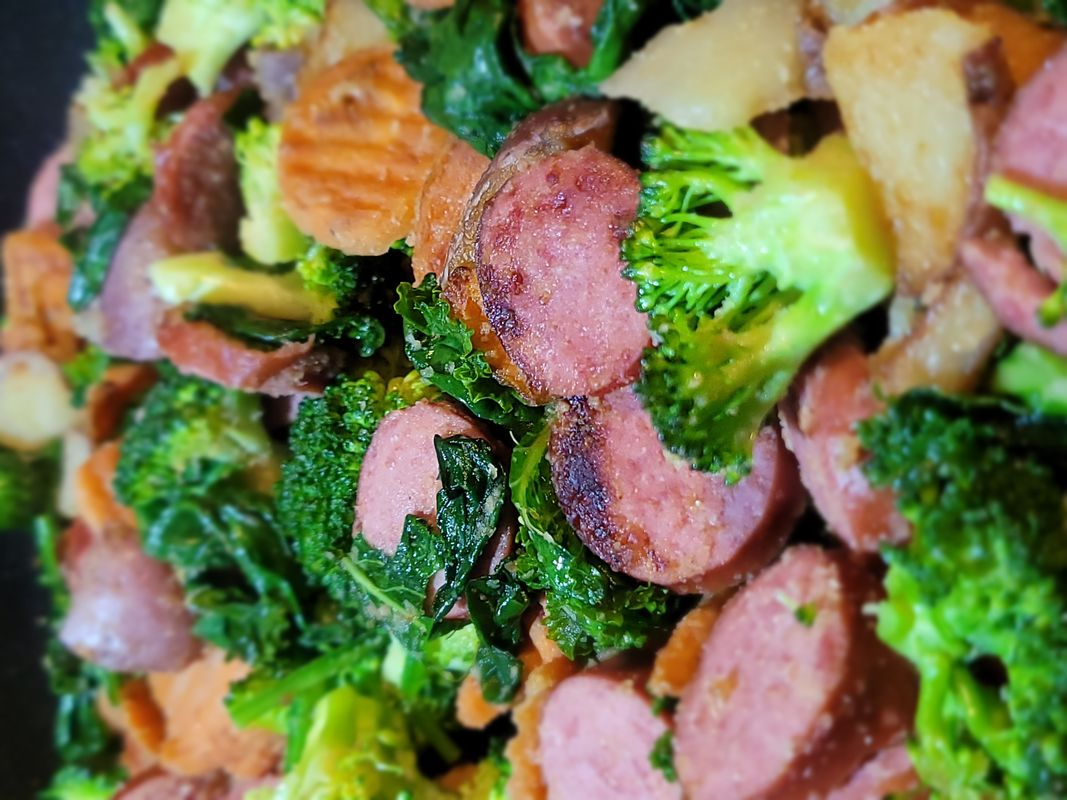 Spring Sausage Stir Fry, Meal Prep - Closeup