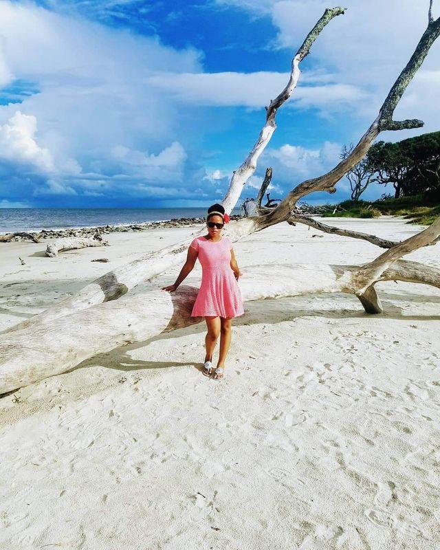 Woman at Driftwood Beach