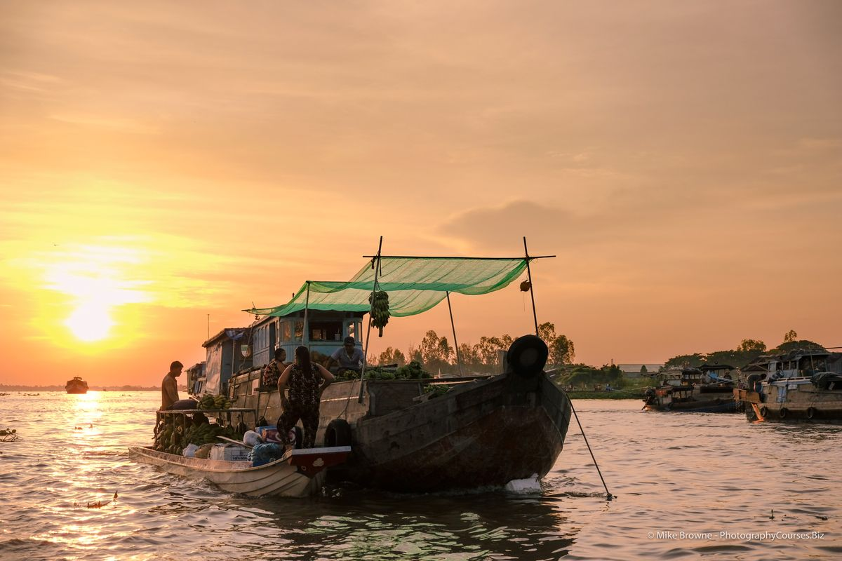 Sunrise at Chau Doc Floating Market