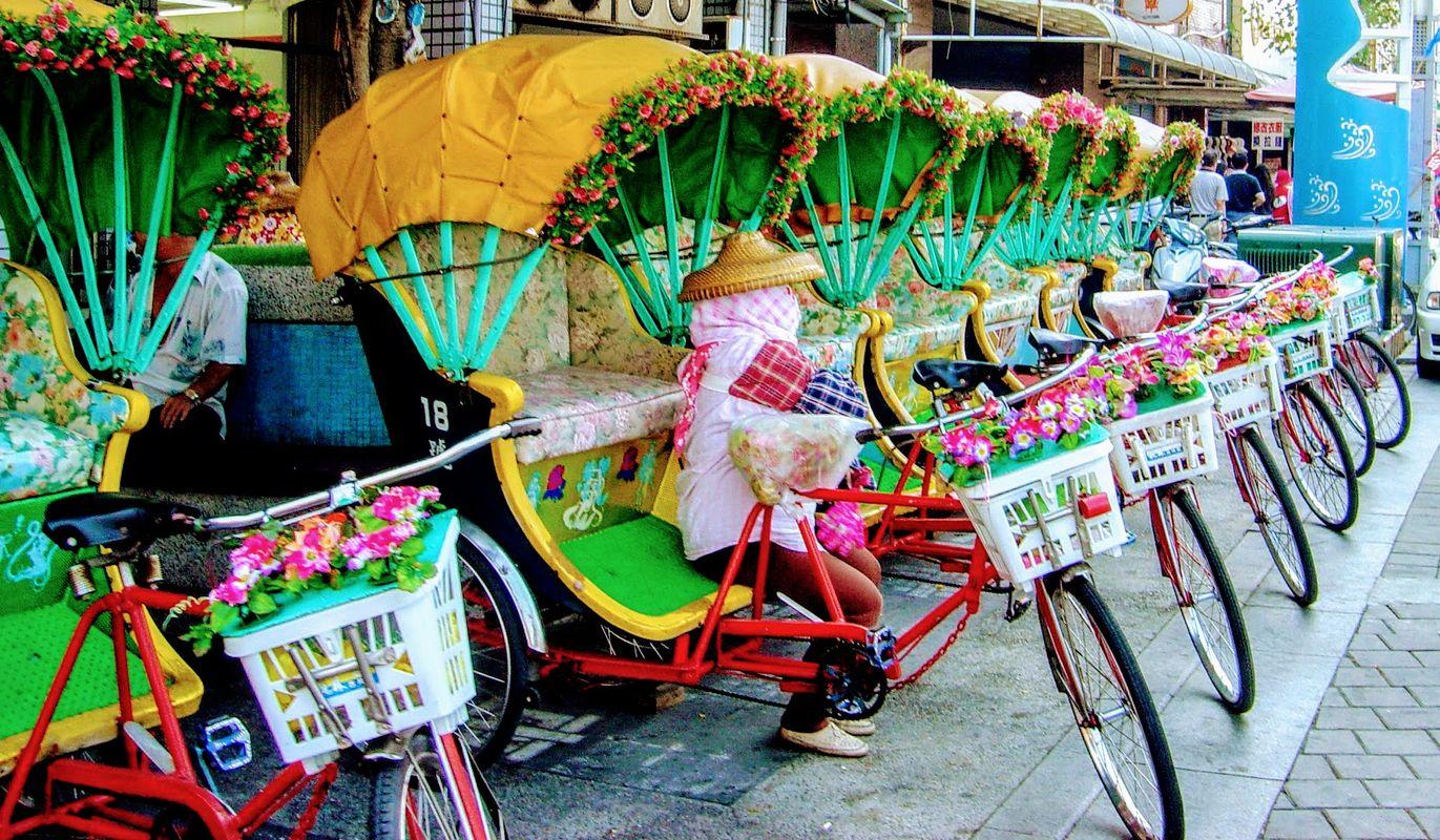 Rickshaws in Tainan, Taiwan