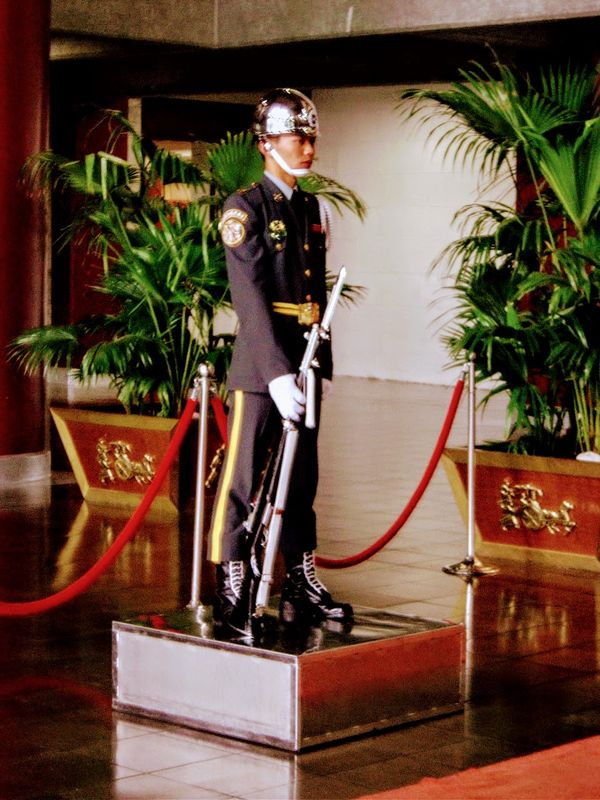 Taiwanese soldier standing guard