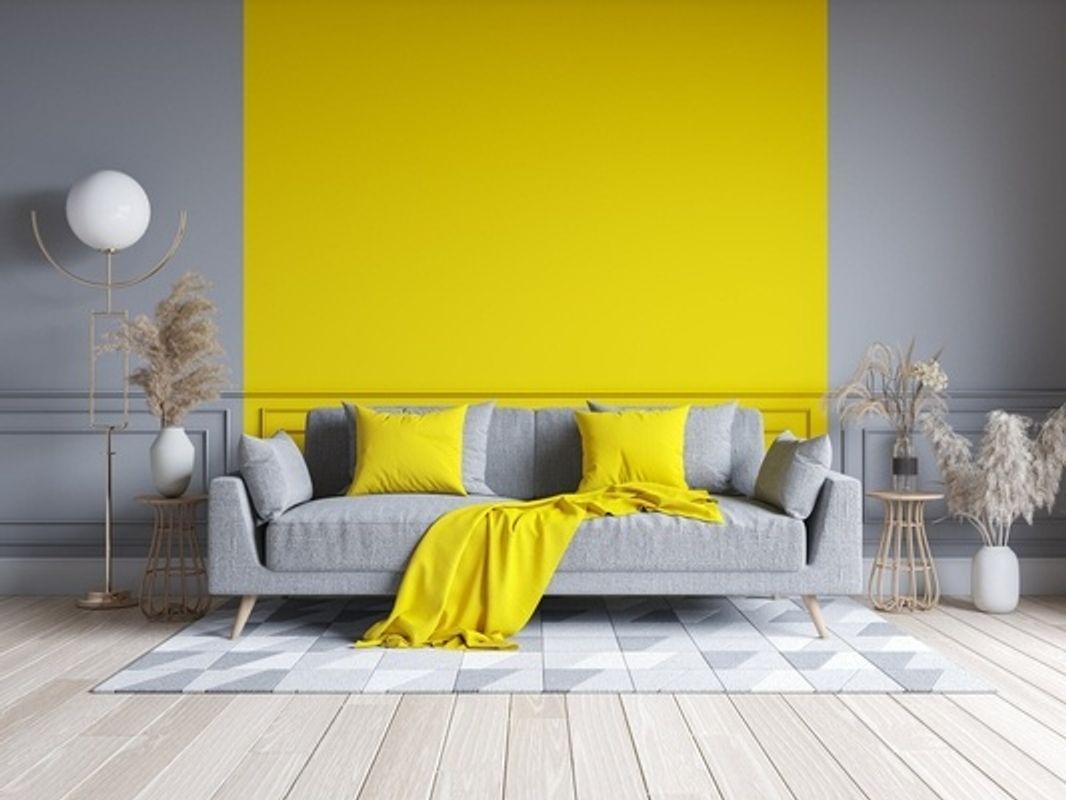 Yellow-gray-wall-with-gray-sofa