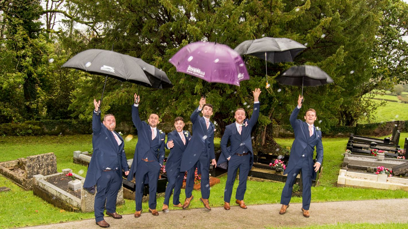 Groomsmen Rainy Wedding Fun