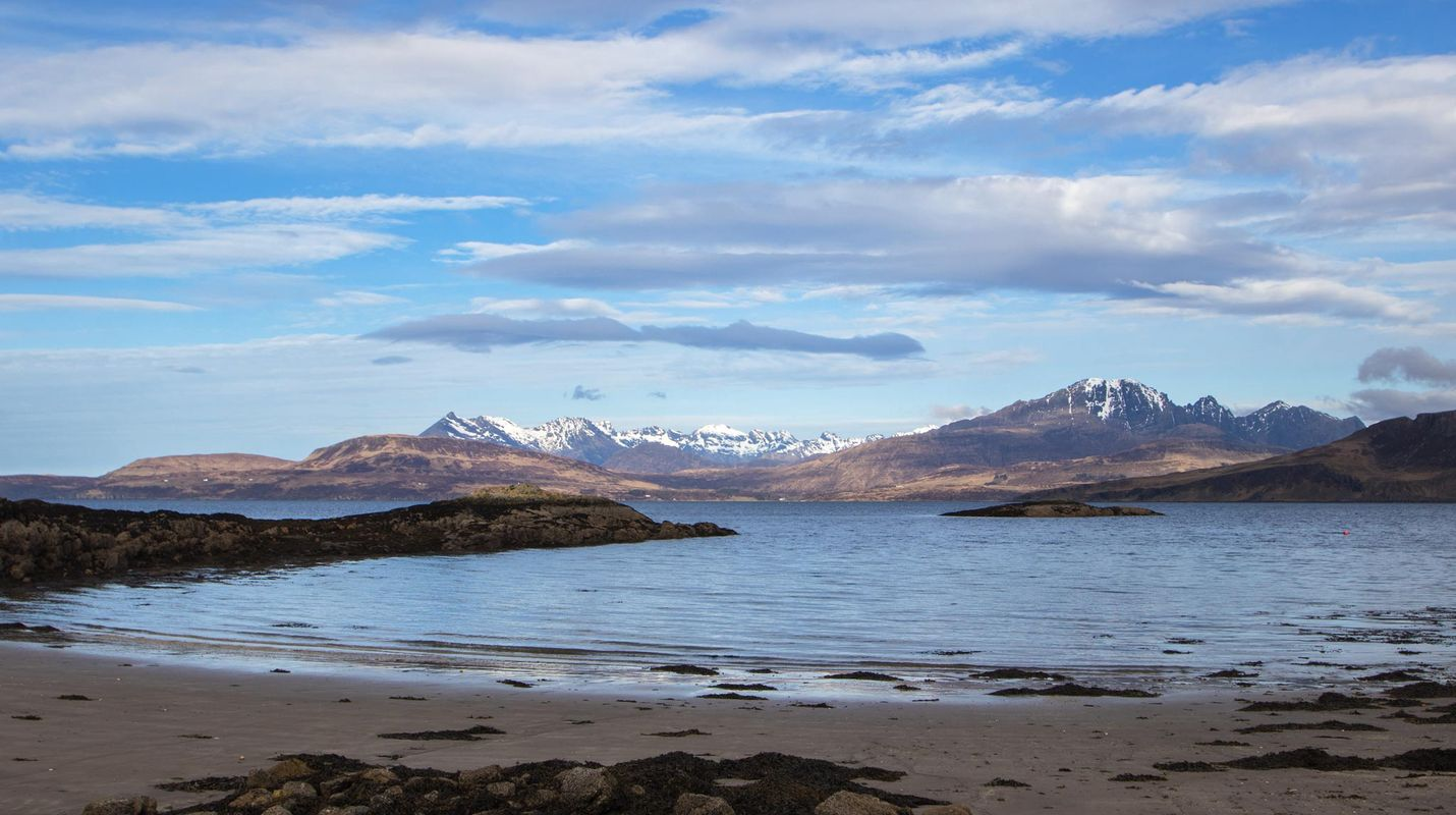 The Cuillin Mountain Range from Ord on the Sleat Peninsula, Skye Scotland