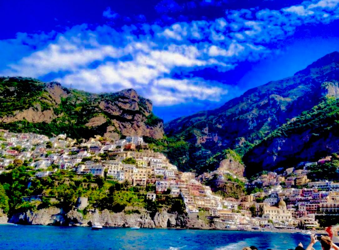 Boat trip out to sea looking back at Positano