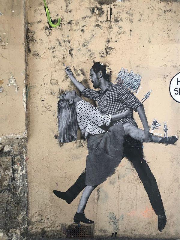 Street Art in Montmartre: A Couple Dancing