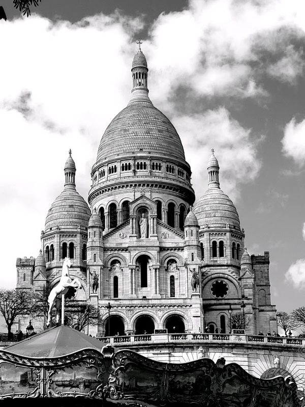 Basilica of the Sacred Heart in Black and White