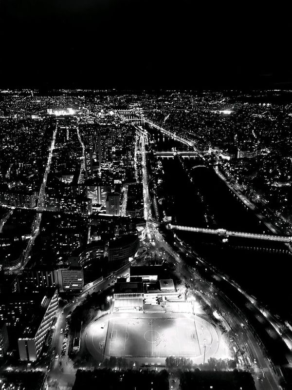 View from the Eiffel Tower in Black and White