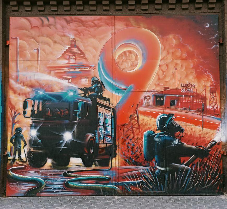 Graffiti made for volunteer firefighters,building of the volunteer fire brigade, Bobolice, Poland (3)