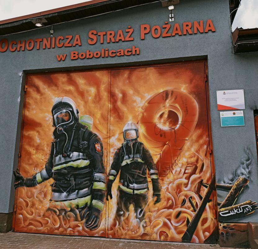 Graffiti made for volunteer firefighters,building of the volunteer fire brigade, Bobolice, Poland (1)