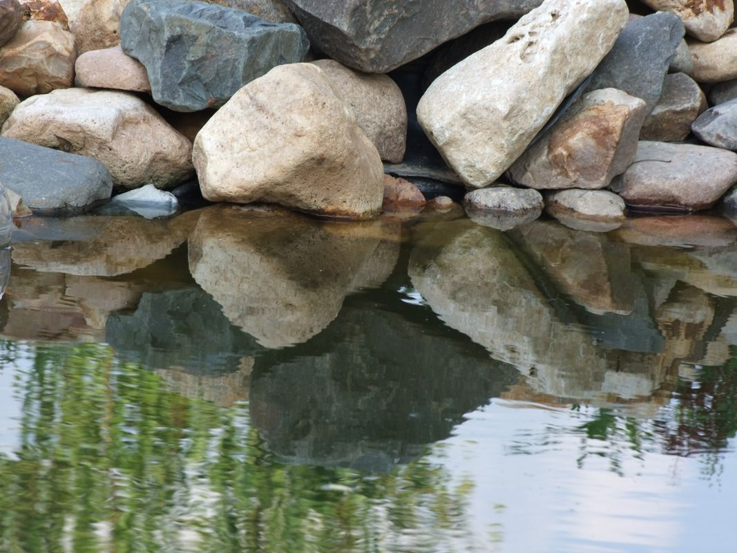 Stone bank of the small pond