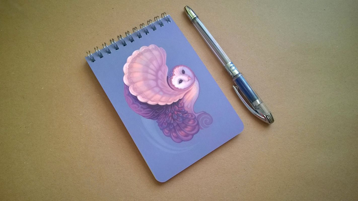 Notebook with my Barn Owl illustration