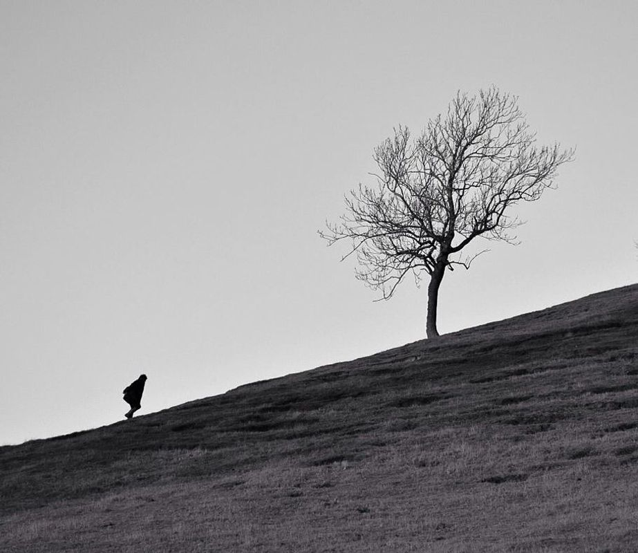 Woman climbing hill