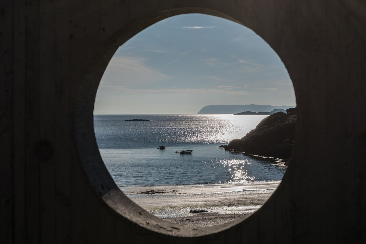 Circular view at the ocean by the road to Havøysund, Finnmark
