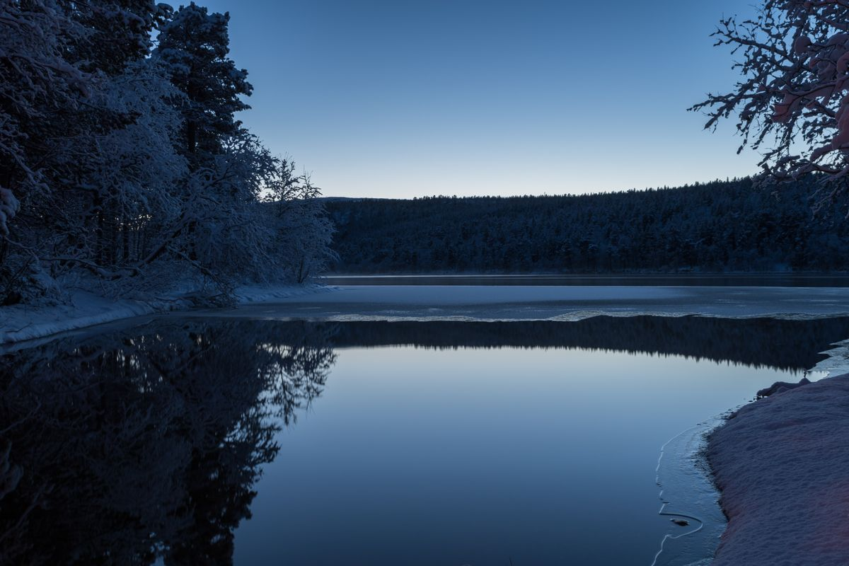Cold winter evening by a quiet lake