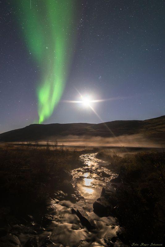Moonshine and northern lights