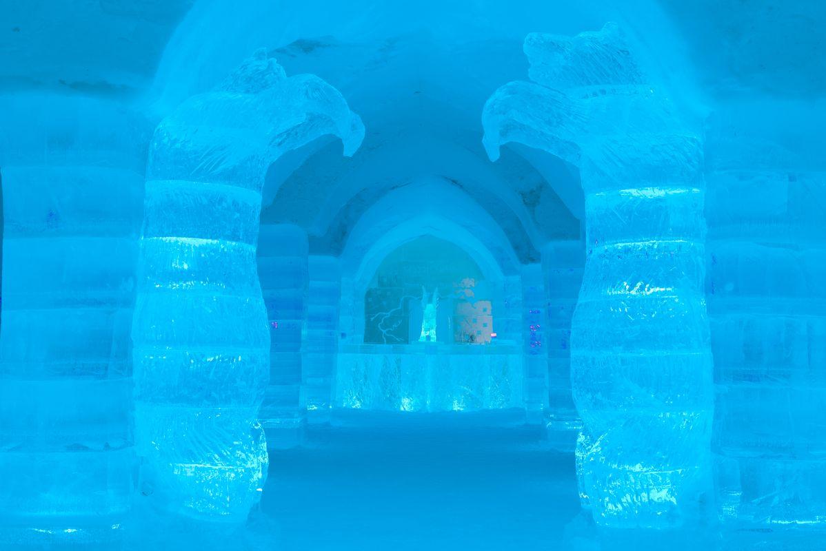 Inside the igloo ice hotel in Sorrisniva