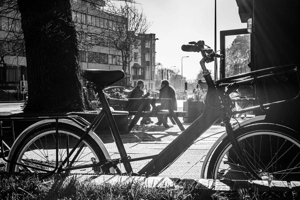 Cafe Patrons and Bike