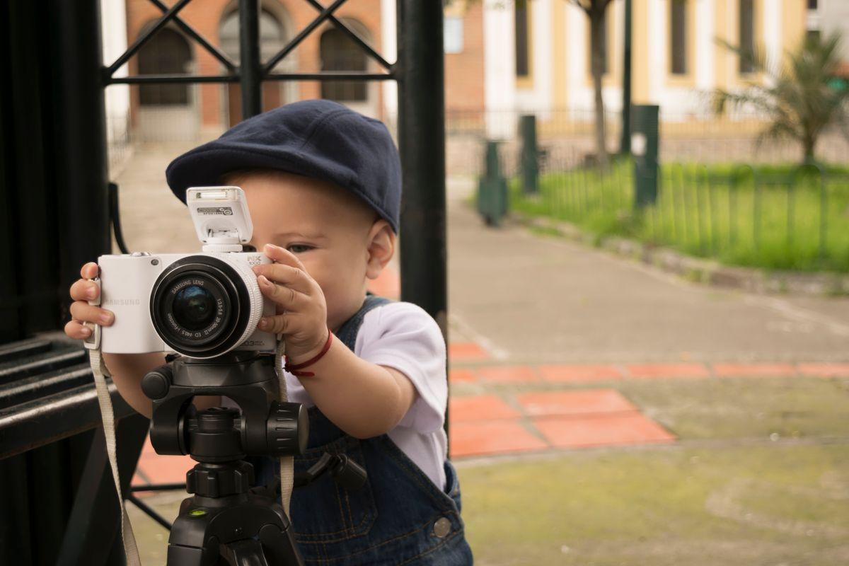 Baby camera play tripod child kid.
