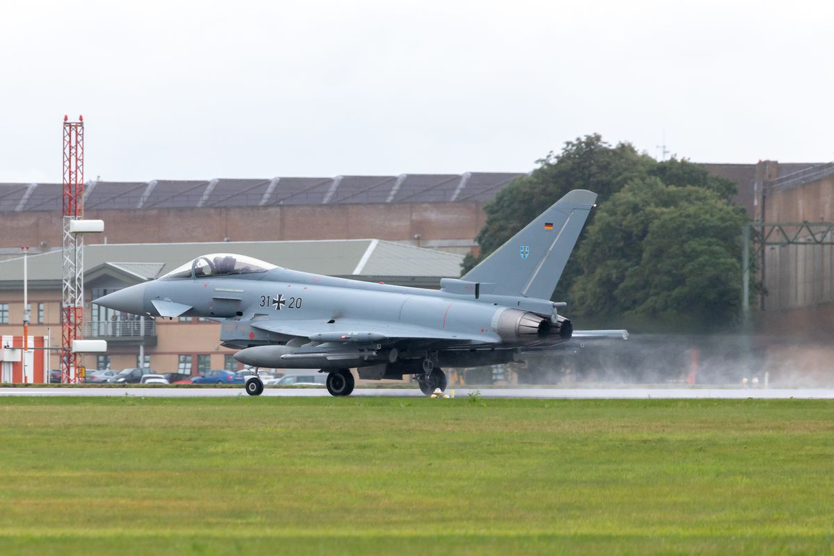 German Eurofighter (EF2000) taking off by Clive Wells