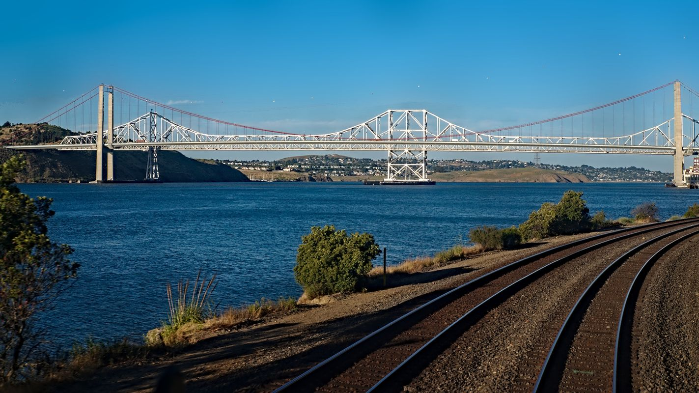 Carquinez Bridge, California USA as seen from the Amtrak Zephyr train