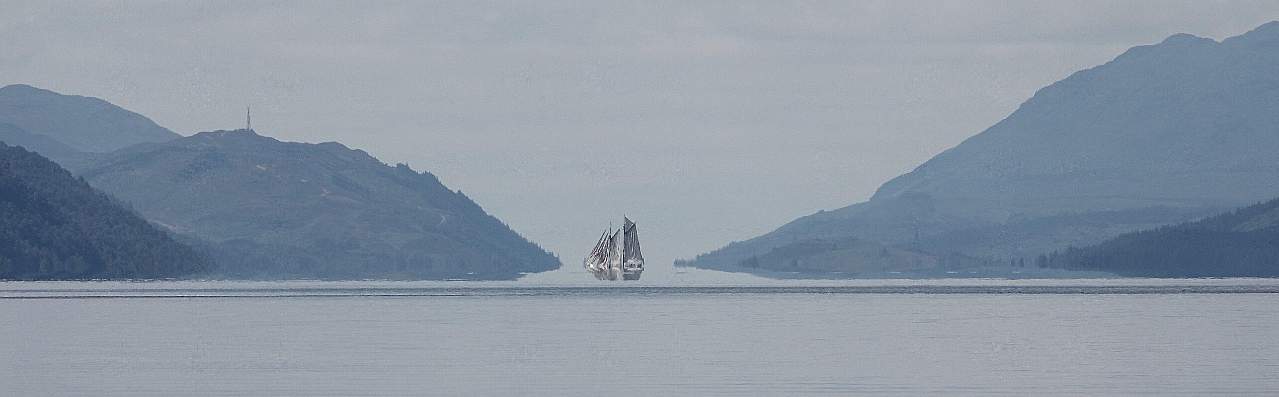 Mirage effect on Loch Ness