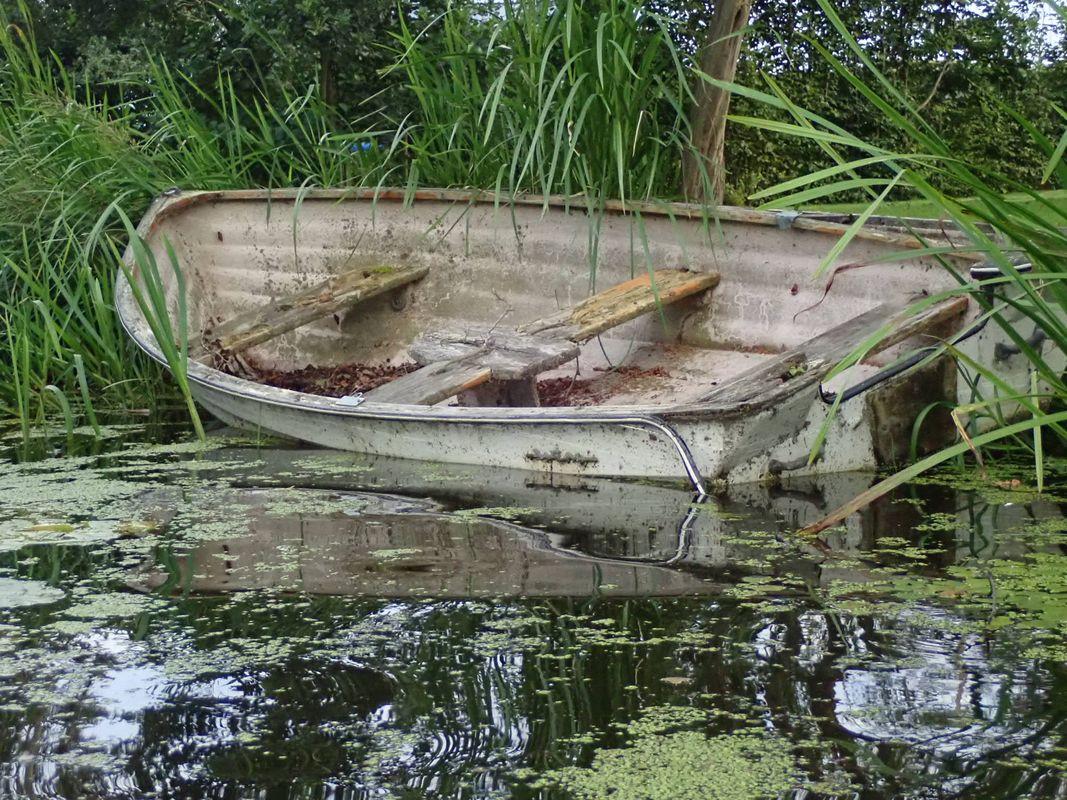 Broken Boat in Water