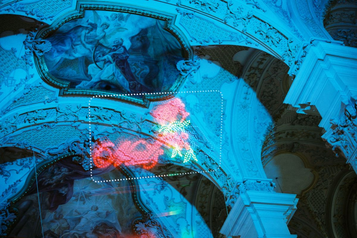 Neon sign in church double exposure