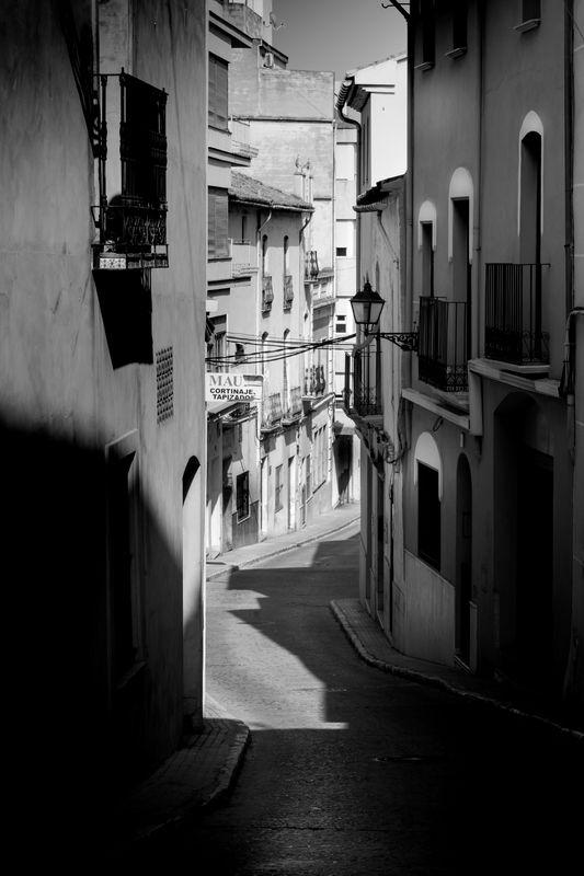Street in Spain in black and white
