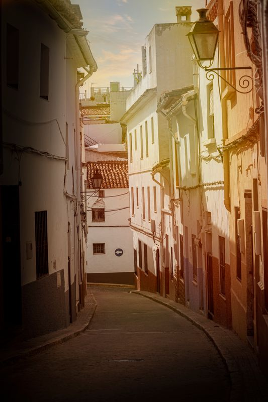 Street in Spain with sunshine.