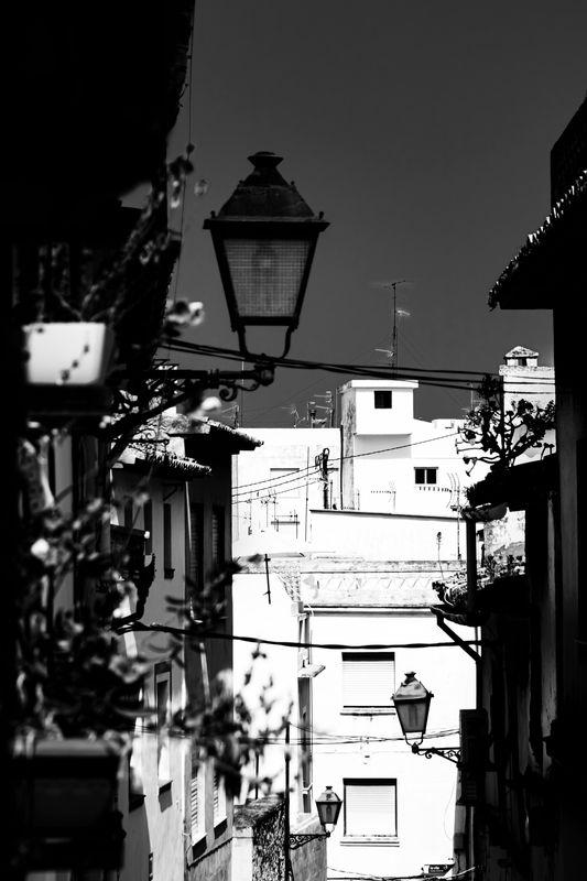 Light / dark in a street in Spain