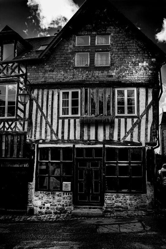 Half-timbered houses in the village in Normandy