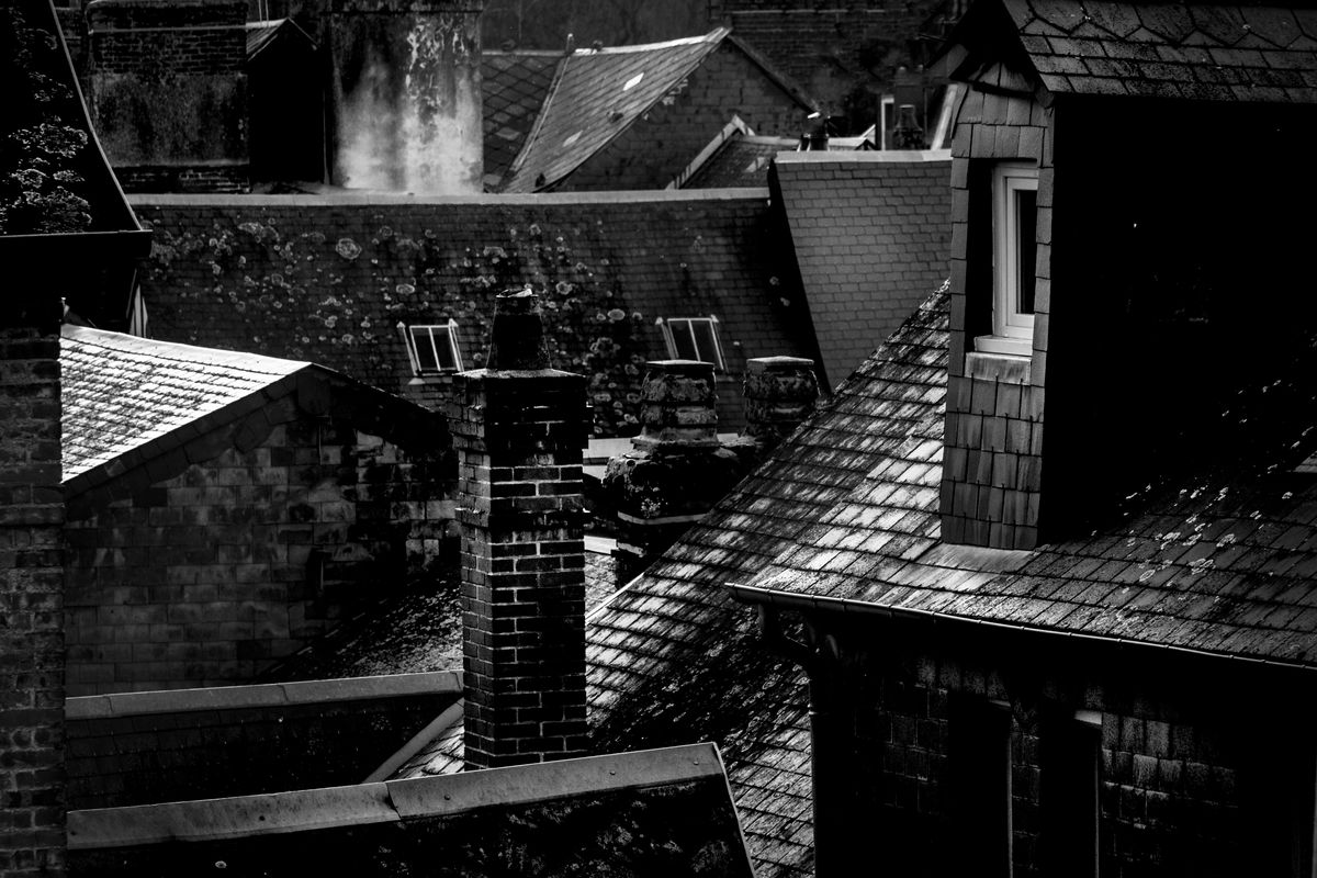 On the roofs of a village in France