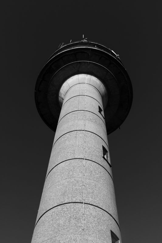 Calshot Tower in mid day sun, and converted to black and white     6452