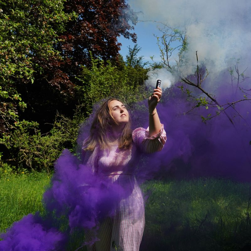 Purple smoke bombs