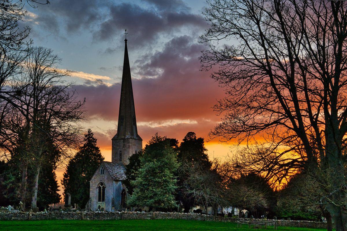 St Peter's Church, Leckhampton, Sunset
