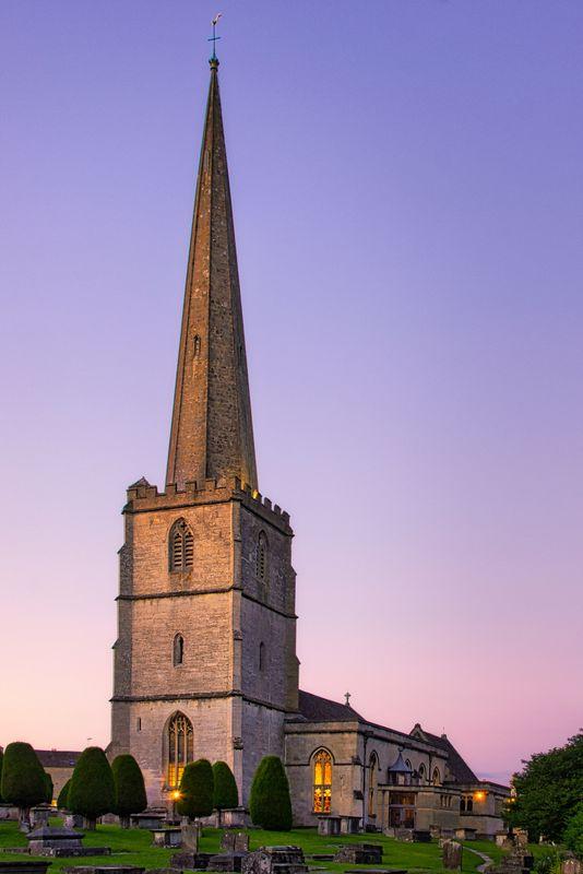St Mary's Church, Painswick at Sunset