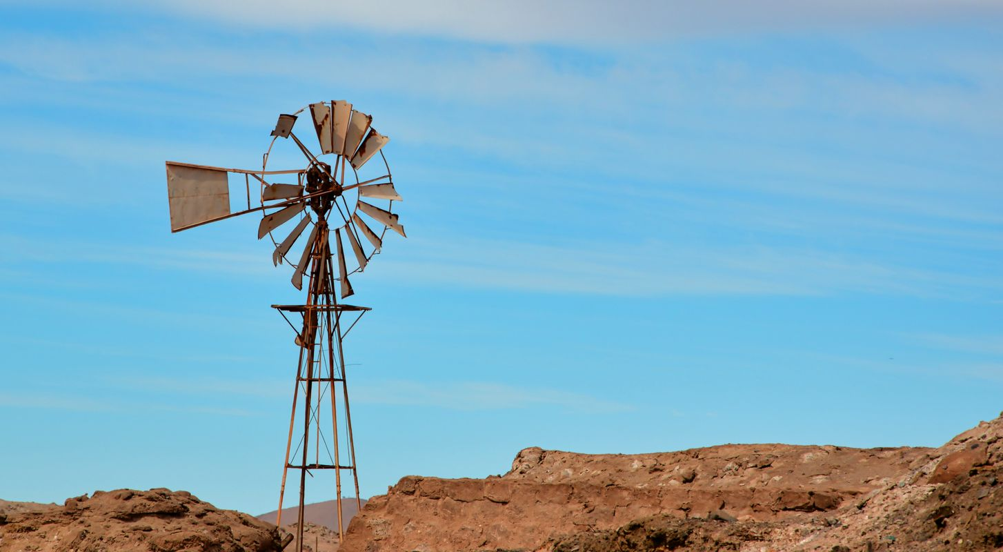 Old windmill in the desert