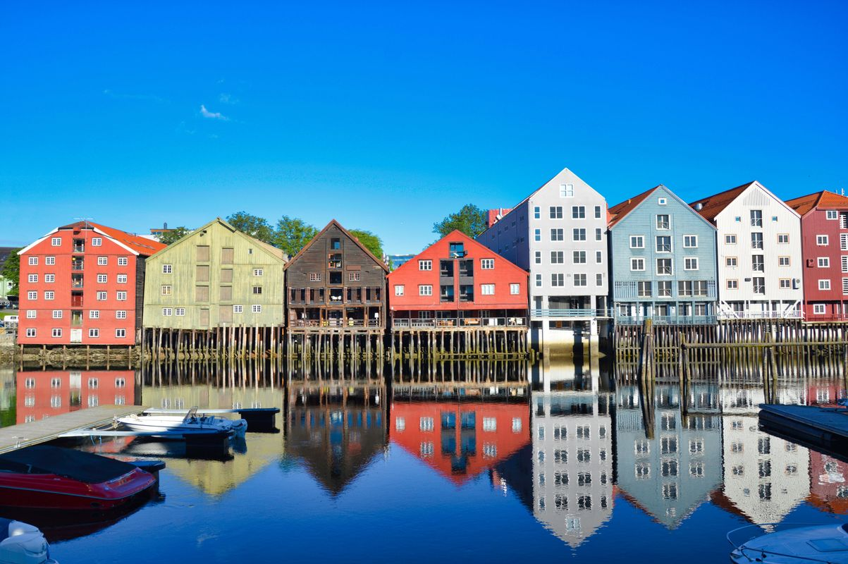 Reflections in the canal town of Trondheim