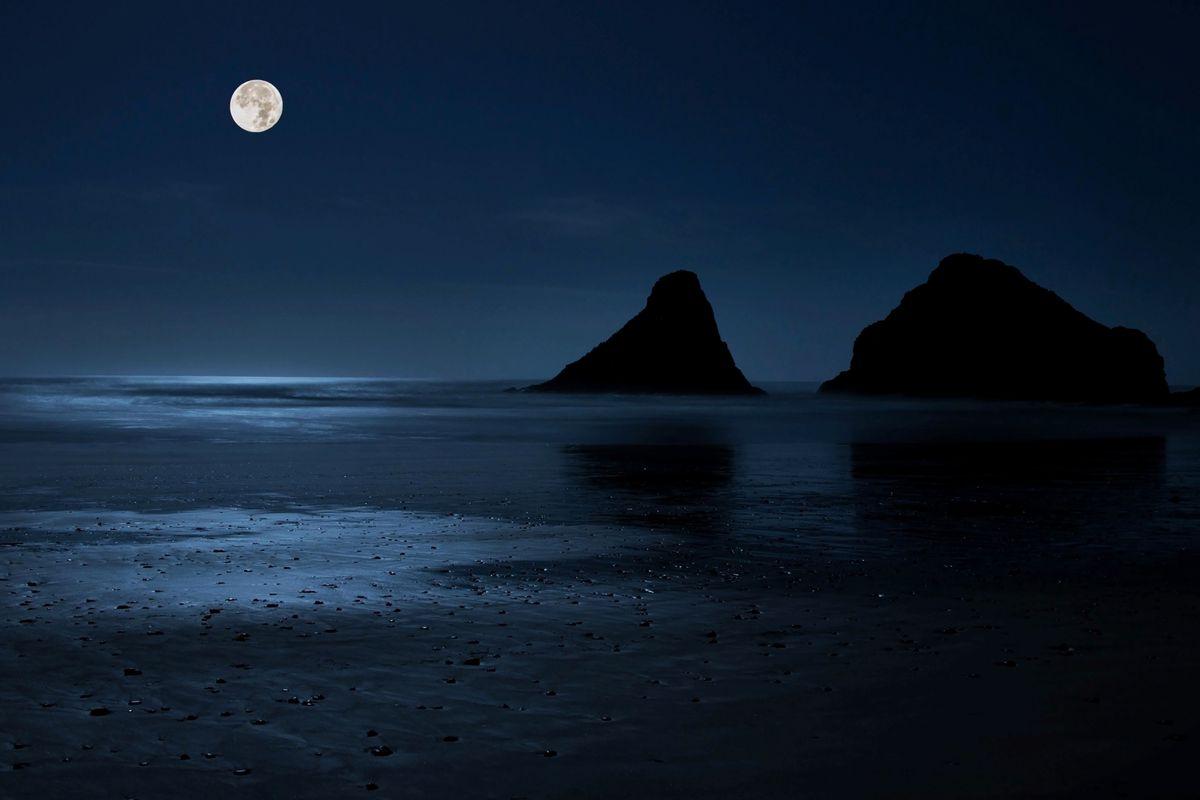 Full Moon Over Heceta Head Beach