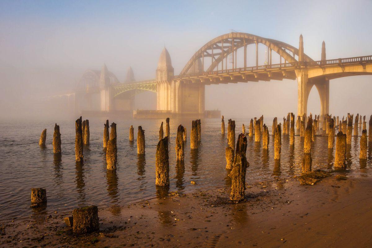 Siuslaw River Bridge in Fog at Sunrise