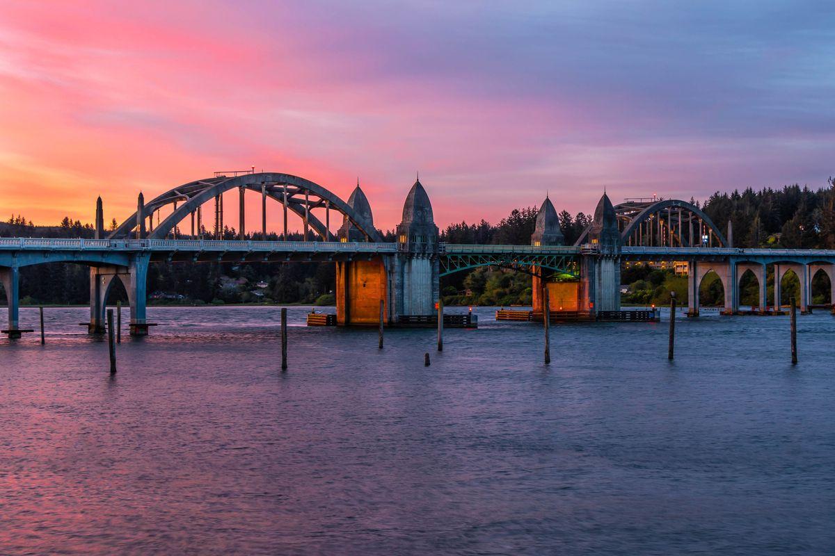 Siuslaw River Bridge at Sunrise