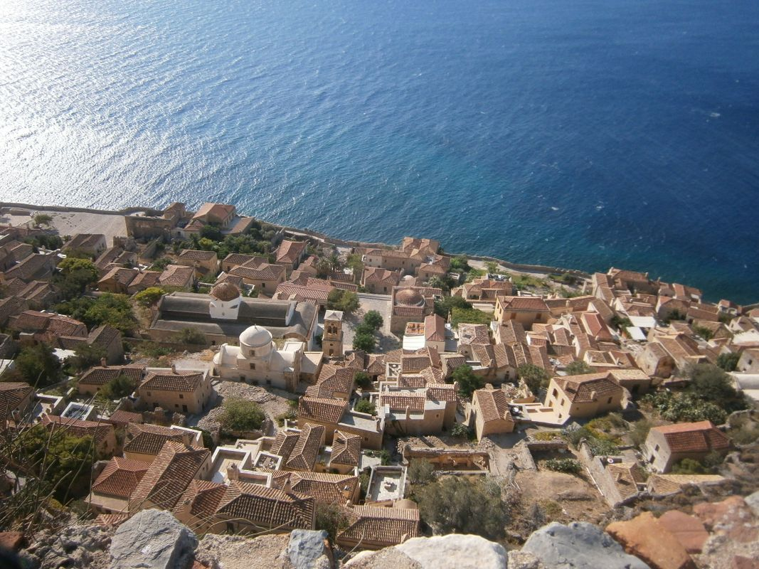Looking from the Hill in Monemvasia Greece