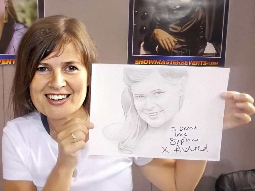 Sophie Aldred and signed drawing