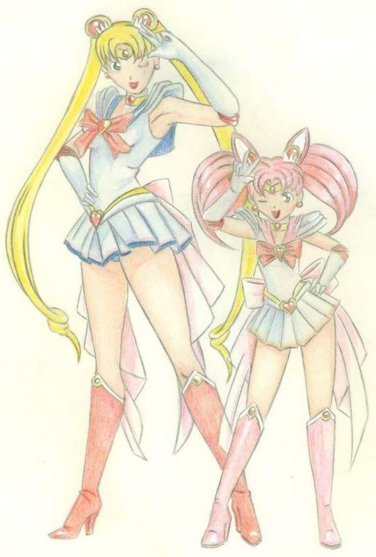 Sailor moon and sailor mini moon