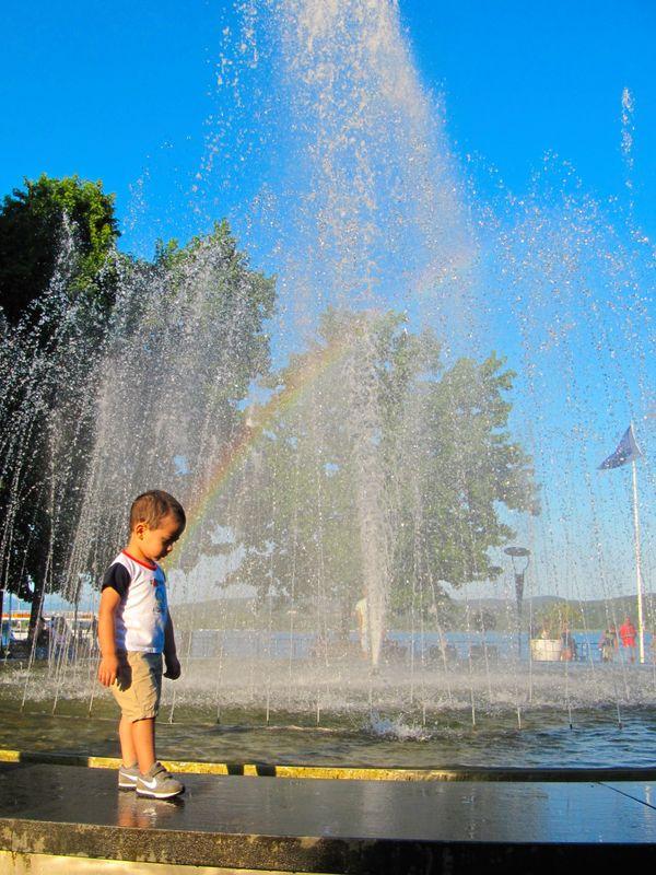 Child and rainbow