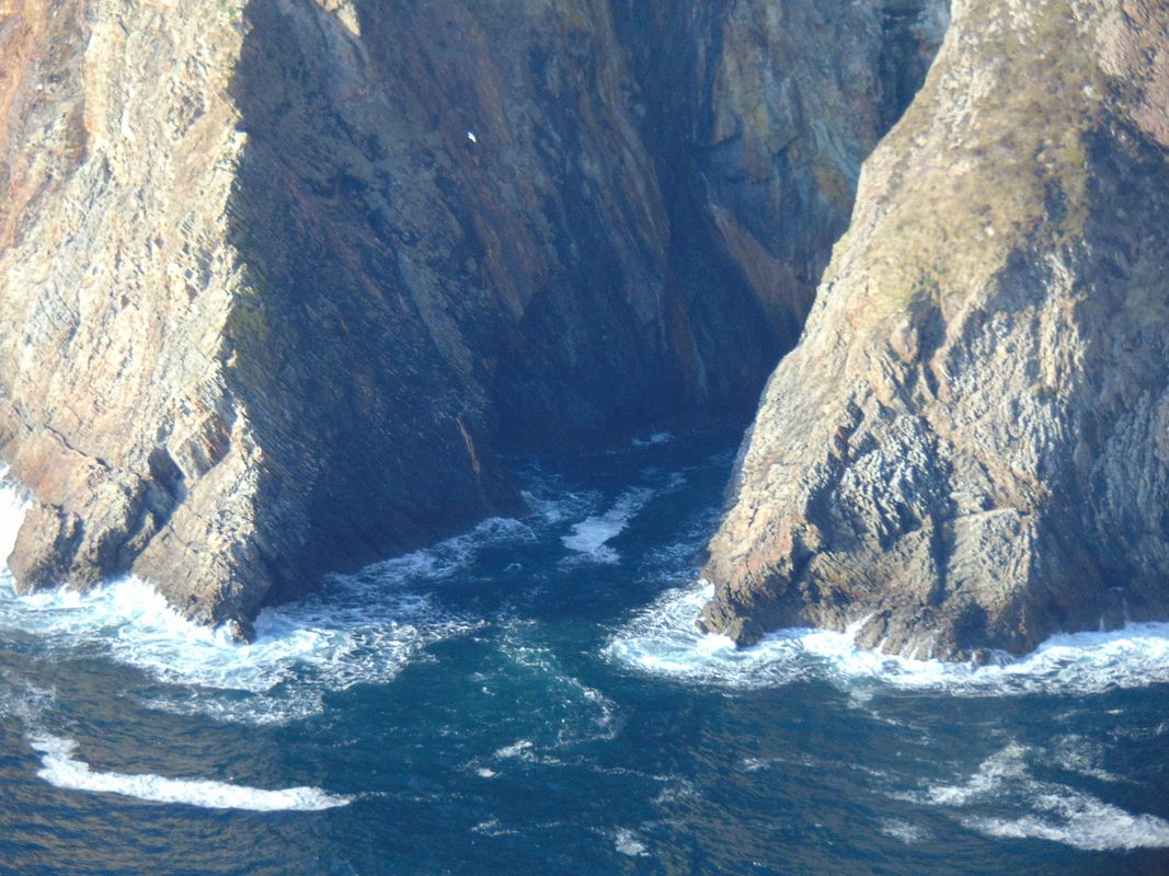 Seawater Flowing Through The Sea Cliff Rocks in Slieve League (Sliabh Liag) Donegal Ireland